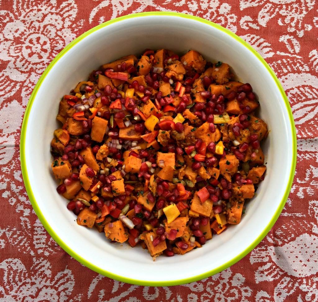 Roasted Sweet Potato Salad with Pomegranate Pumpkin Dressing