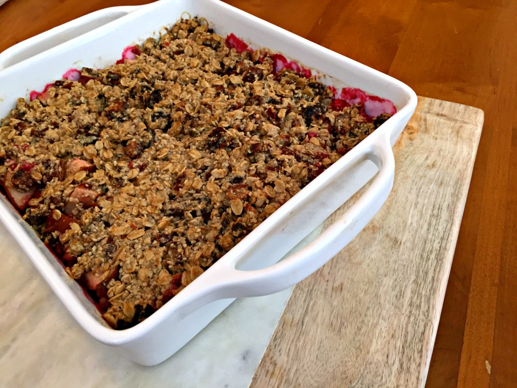 Caramelized Pear and Raspberry Crumble