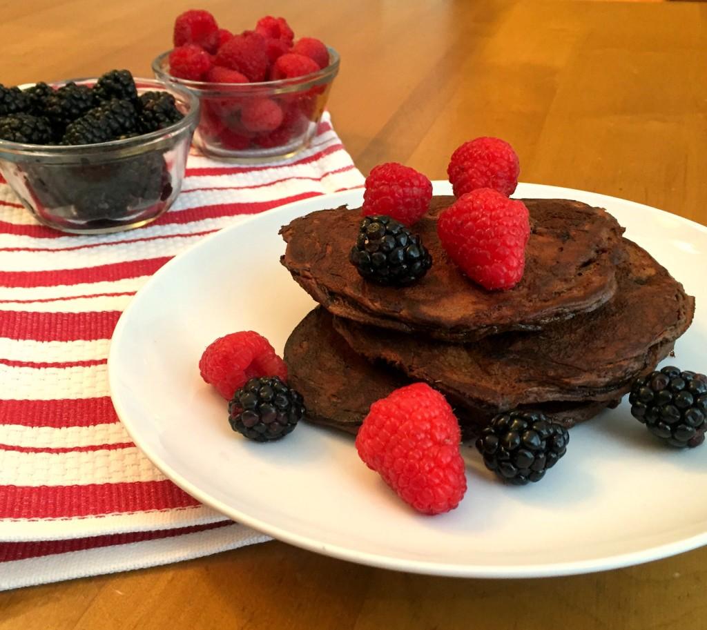 Triple Chocolate Protein Pancakes
