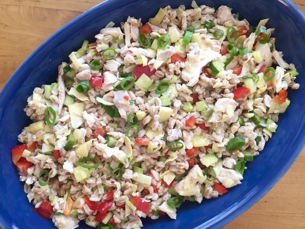 Lemon Farro Salad with Chicken and Artichokes