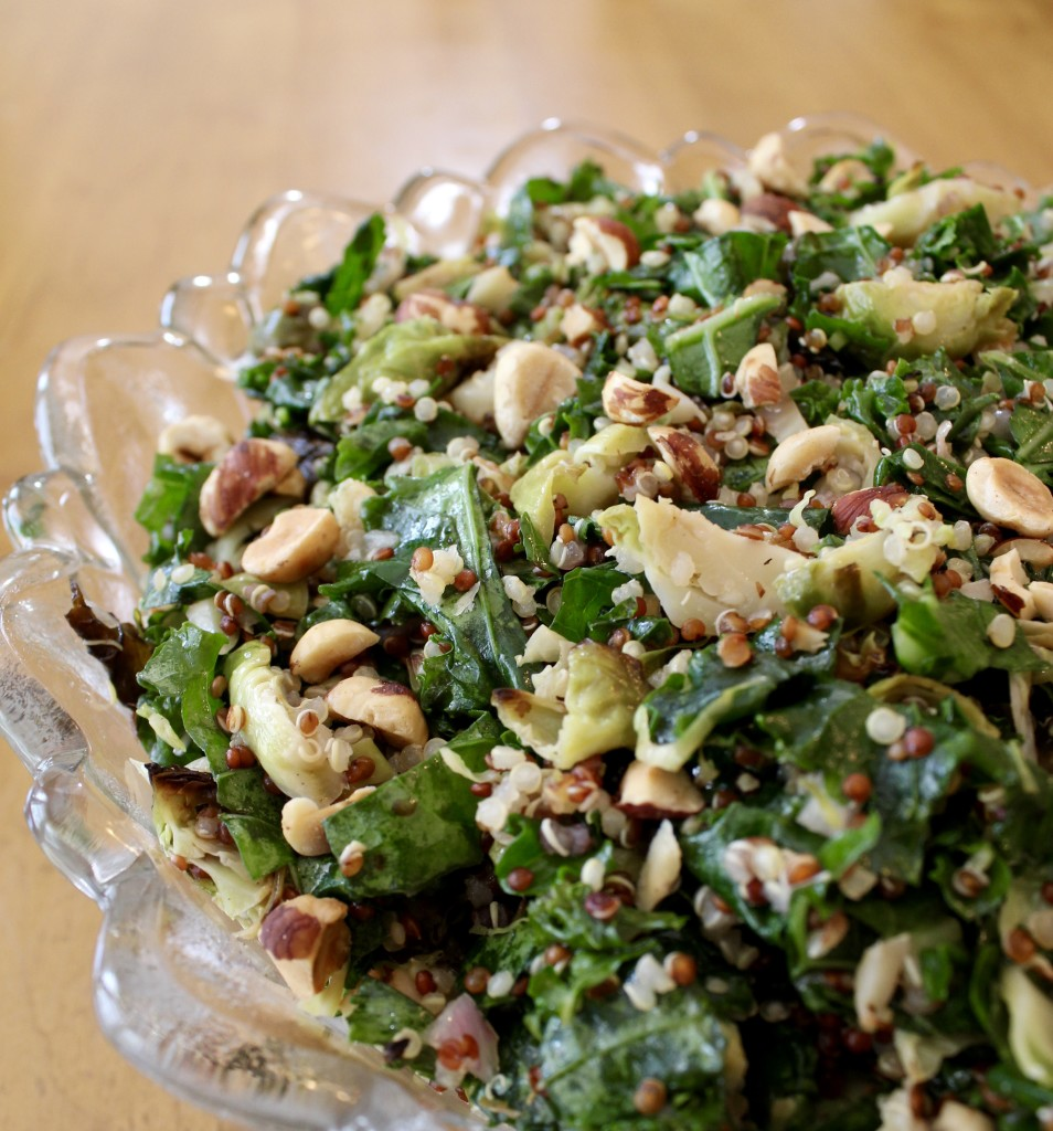 Shredded Brussels, Kale, and Quinoa Salad with Toasted Hazelnuts